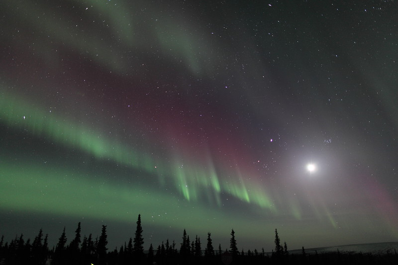 Northern Lights with Moon, Jupiter and Pleiades at 00:29 AM on March 17, 2013 - Arctic Circle, Alaska<br /> Constellations: Monoceros, Canis Minor, Gemini, Orion, Taurus, Auriga and Perseus<br /> <br /> Canon 5D MKII with EF 24mm f/1.4L II