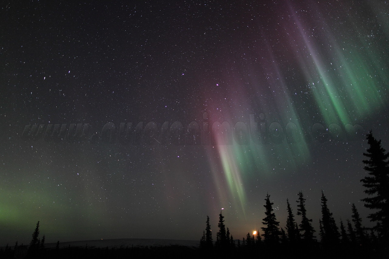 Colorful auroral curtain with setting Moon, Jupiter and Pleiades at 03:13 AM on March 17, 2013 - Arctic Circle, Alaska<br /> Constellations: Gemini, Taurus, Auriga and Perseus<br /> <br /> Canon 5D MKII with EF 24mm f/1.4L II