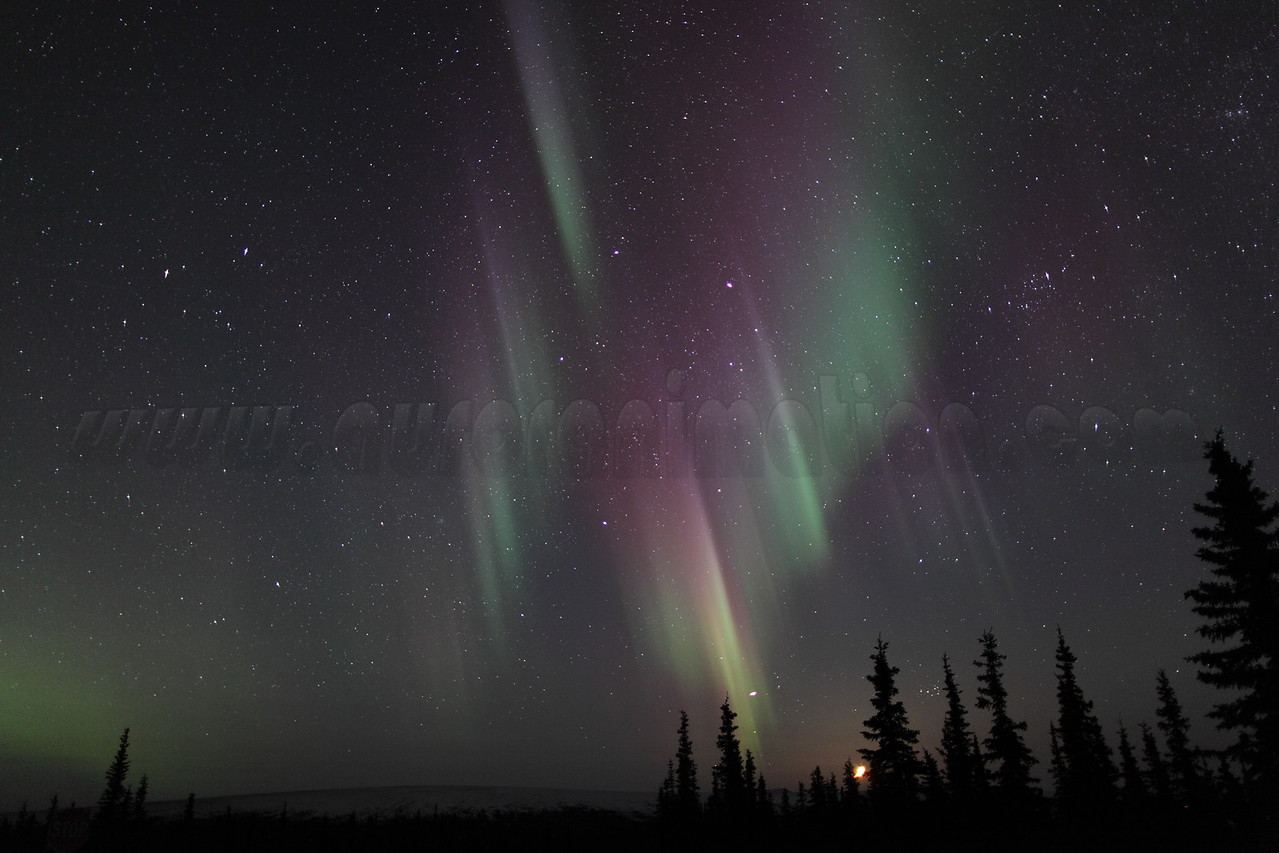 Colorful auroral curtains with setting Moon, Jupiter and Pleiades at 03:19 AM on March 17, 2013 - Arctic Circle, Alaska<br /> Constellations: Gemini, Taurus, Auriga and Perseus<br /> <br /> Canon 5D MKII with EF 24mm f/1.4L II