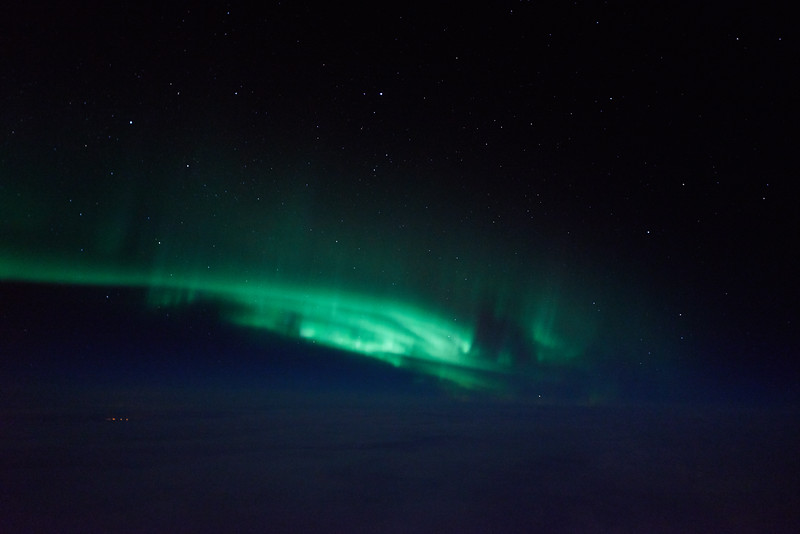 Swirling auroral curtains captured at 12:51 AM