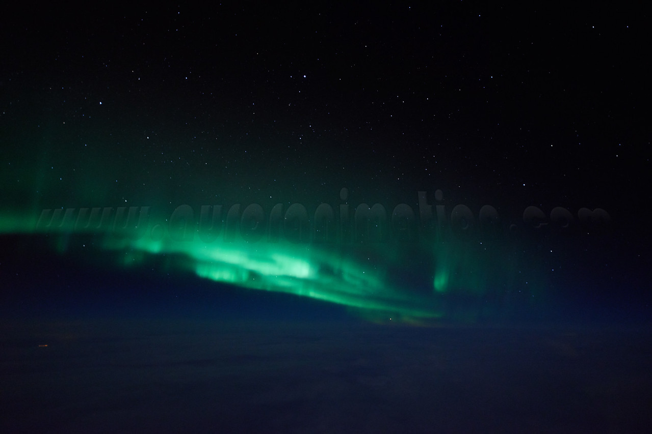 Swirling auroral curtains captured at 12:52 AM