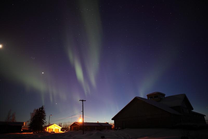 Aurora Borealis at the Yukon River - March 27, 2012 - Circle, Alaska  Camera: Canon EOS 5D Mark II - Lens: Zeiss Distagon 25mm f/2.0 ZE