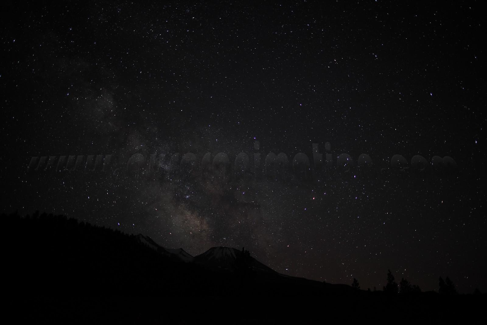 Milky Way eclipsing Mount Shasta
