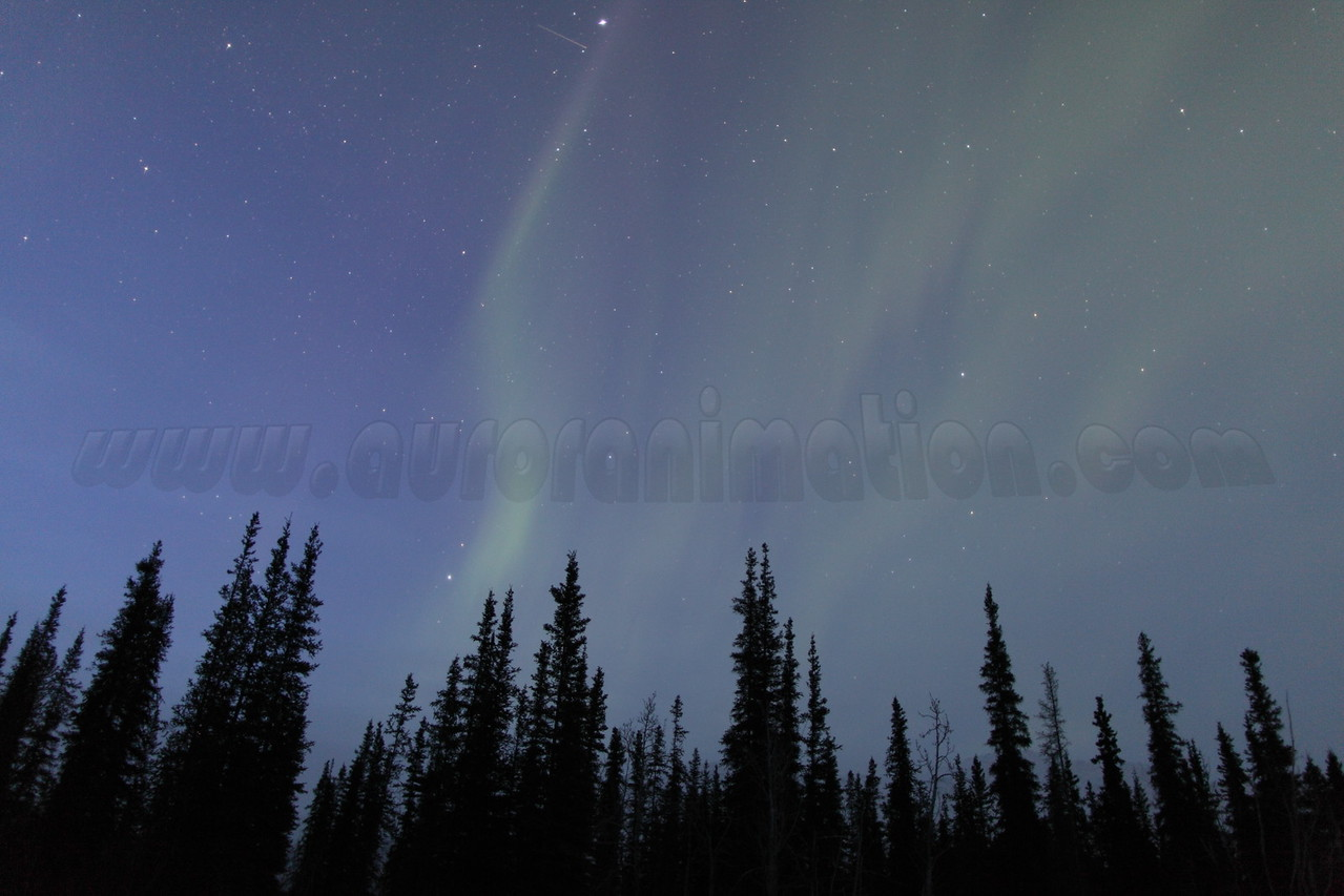 Auroral display captured on Vernal Equinox at Koyukuk river in Wiseman, Alaska at 05:56 AM on March 20, 2013. The Wiseman Village is located within Alaska's Brooks Range at latitude 67.4 and longitude -150.1<br /> <br /> Canon 5D MKII with EF 24mm f/1.4L II lens