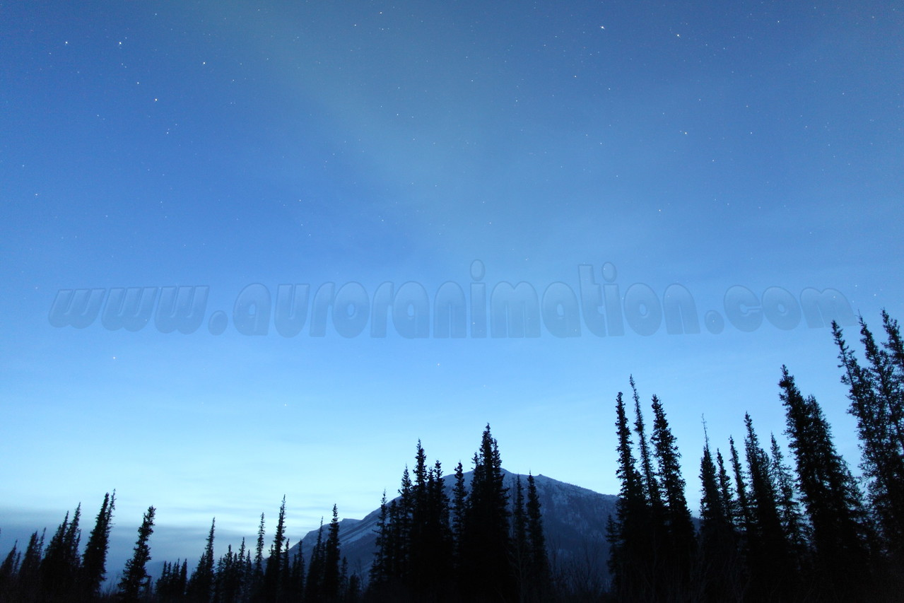 Vernal Equinox: Faint aurora and stars of constellation Cassiopeia at dawn - captured at Koyukuk river in Wiseman, Alaska at 06:16 AM on March 20. The Wiseman Village is located within Alaska's Brooks Range at latitude 67.4 and longitude -150.1<br /> <br /> Canon 5D MKII with EF 24mm f/1.4L II lens