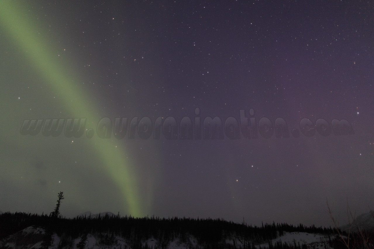 Vernal Equinox: Northern Lights at dawn - captured at Koyukuk river in Wiseman, Alaska at 05:37 AM on March 20. The Wiseman Village is located within Alaska's Brooks Range at latitude 67.4 and longitude -150.1<br /> <br /> Canon 5D MKII with EF 24mm f/1.4L II lens