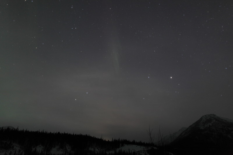Vernal Equinox: Faint Lunar Halo and Aurora captured at Koyukuk river in Wiseman, Alaska at 04:53 AM on March 20. The Wiseman Village is located within Alaska's Brooks Range at latitude 67.4 and longitude -150.1<br /> <br /> Canon 5D MKII with EF 24mm f/1.4L II lens