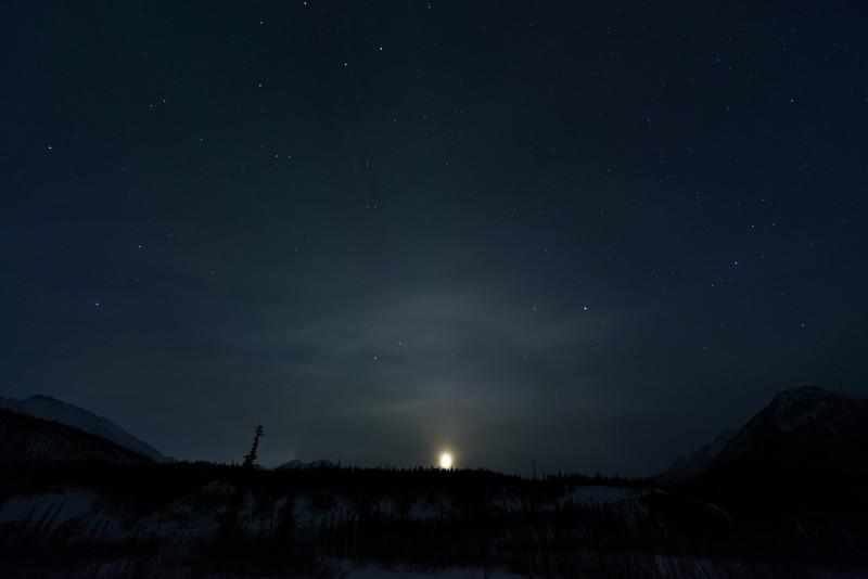 Equinox Aurorae with Moon Halo in Alaska