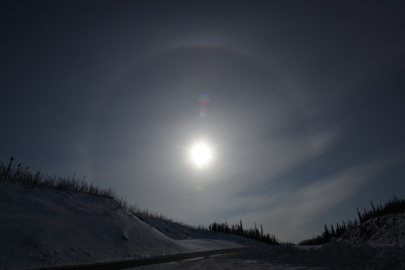 Vernal Equinox: Sun Halo captured at 11:57 AM on March 20, 2013 near the Arctic Circle in Alaska<br /> <br /> Canon 5D MKII with EF 24mm f/1.4L II lens