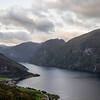 Looking towards Flam with Aurlandsvangen in the foreground. Aurland, Norway. Sept 13, 2019