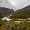 Kårdalsfossen Waterfall and  Moldani  River, Flam Norway. Sept 15, 2019