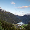 View of the Geirangerfjord from Geiranger, Norway. Sept. 17, 2019