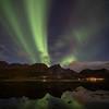 Northern lights over Flakstadpollen, Flakstad, Norway 10-21-2019