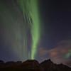 Northern Lights over Flakstad in the Lofoten Islands. Sept. 21, 2019Lofoten, Norway Sept.21, 2019