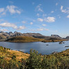 Panorama of Selfjorden from Kvalvika Beach Trailhead, Fredvang, Norway. Sept. 22, 2019
