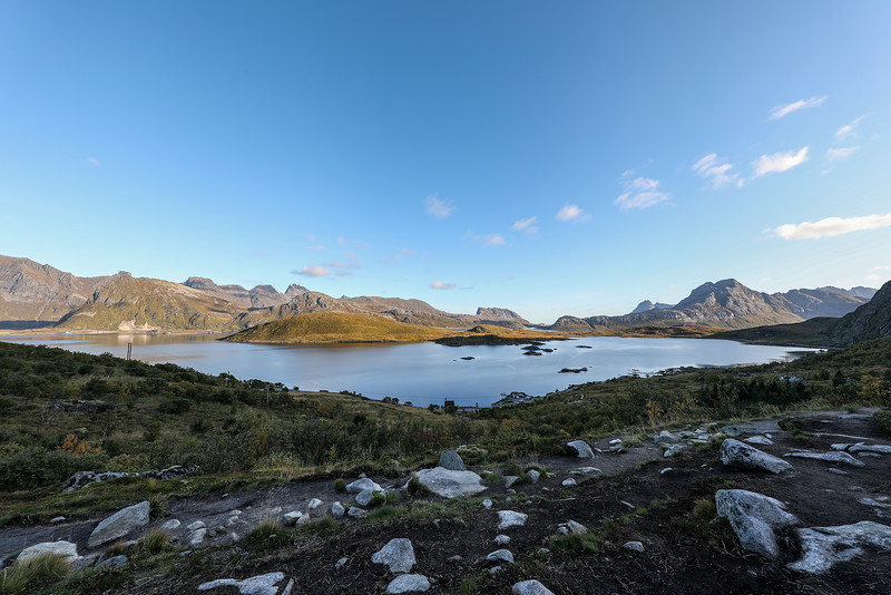View of Selfjorden from Kvalvika Beach Trailhead, Fredvang, Norway. Sept. 22, 2019