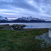 North Lyngen with the Lyngenfjord and the Lyngen Alps mountain range. Sept. 24, 2019. Iphone 7 Pano