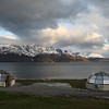 North Lyngen with the Lyngenfjord and the Lyngen Alps mountain range. Pano. Sept. 25, 2019.