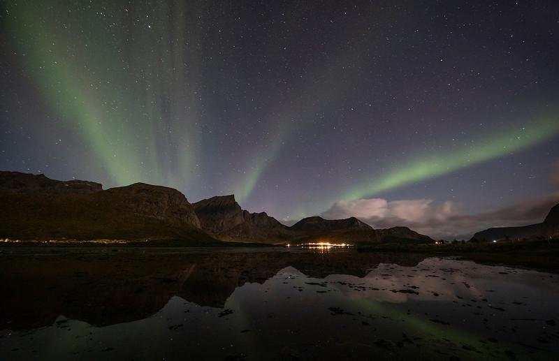 Northern Lights over Flakstad in the Lofoten Islands. Sept. 21, 2019