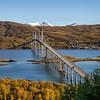 The Tjeldsund Bridge connects mainland and the island of Hinnøya, Norway. Sept. 25, 2019