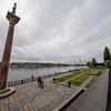 Pillar with statue of Engelbrekt Engelbrektsson at the City Hall park, Stockholm, Sweden. Sept. 30, 2019