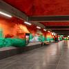 Stockholm Blueline Subway station of Solna Centrum. Sept. 30, 2019