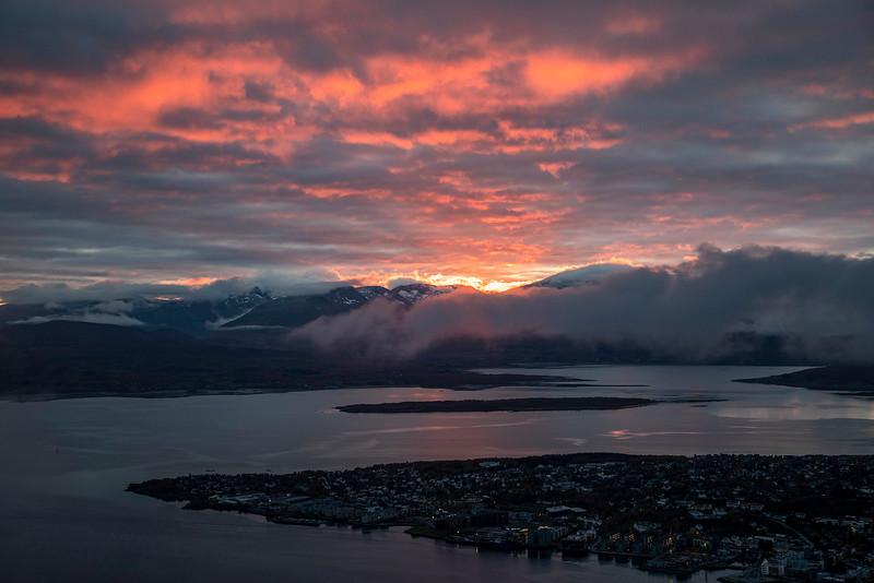 Sunset over Tromso, Norway. Sept. 26, 2019