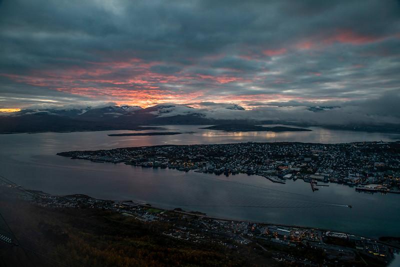 Sunset over Tromso (Fjellheisen). Sept. 26, 2019