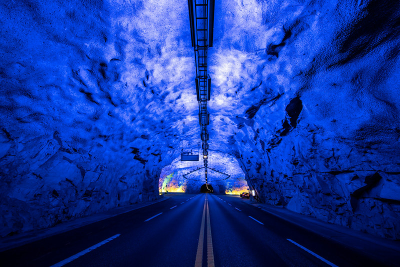 Laerdal Tunnel connects Aurland and Laerdal.  Sept. 13, 2019