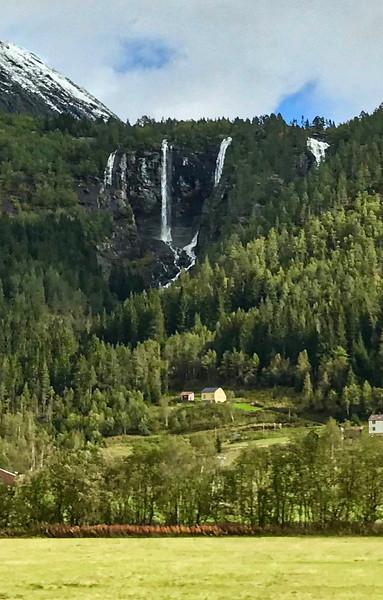 Geisfossen Waterfall in Jostedal, Norway. Sept. 16, 2019