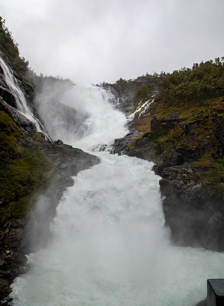 Kjosfossen Waterfall Flam Railway, Norway. sept. 15, 2019