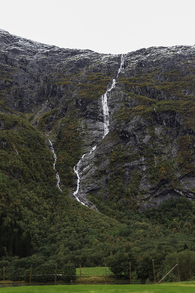 Olmaafossen (Ølmåafossen) waterfall in the Romsdalen valley in Rauma, Norway. Sept. 19th, 2019