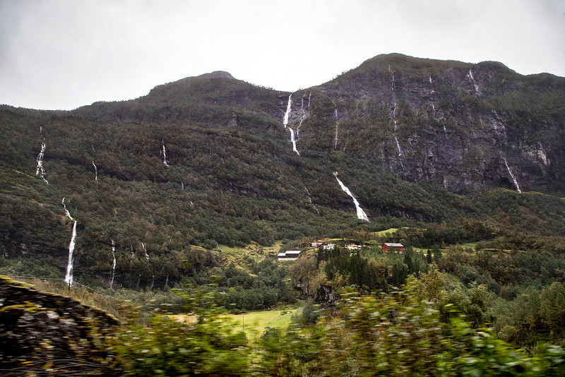 Tunnshellefossen Waterfall, Flam Railway. Norway. Sept 15, 2019