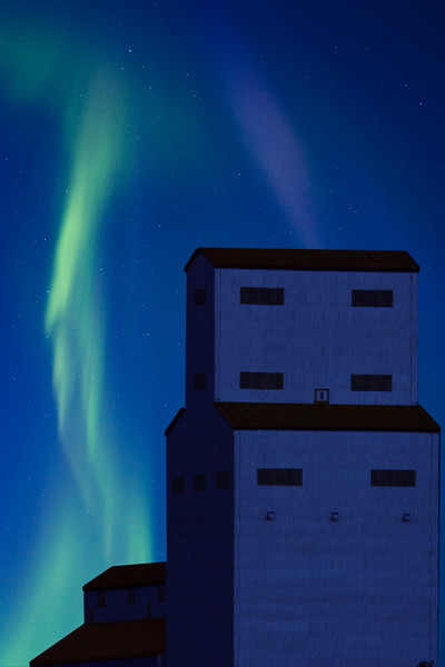 Northern Lights and Grain Elevator