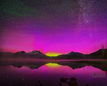 """Light Dance,"" Aurora Borealis and Milky Way over Sparks Lake, the South Sister and Broken Top, Deschutes National Forest"