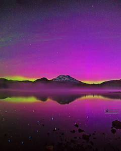 """Aurora's Canvas,"" The Aurora Borealis over Sparks Lake and the South Sister, Deschutes National Forest"
