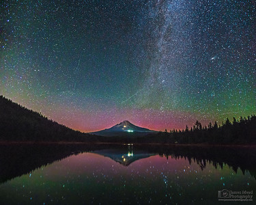 """Rising In The Dark,"" Perseid Meteor Shower and the Aurora Borealis over Mount Hood and Trillium Lake, Mt Hood National Forest, Oregon"