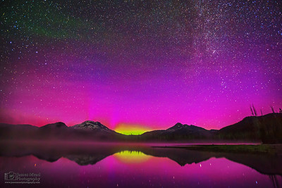 """Spirit of Aurora,"" Aurora Borealis and the Milky Way spiral arm over Sparks Lake, the South Sister and Broken Top, Deschutes National Forest, Oregon"