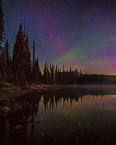 """Mystical Aurora,"" The Aurora Borealis and airglow above Sparks Lake, Deschutes National Forest"