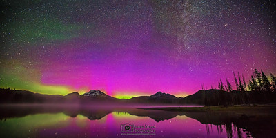 """Aurora's Mirror,"" The Aurora Borealis, the Andromeda Galaxy and the Milky Way over Sparks Lake, the South Sister and Broken Top, Deschutes National Forest"