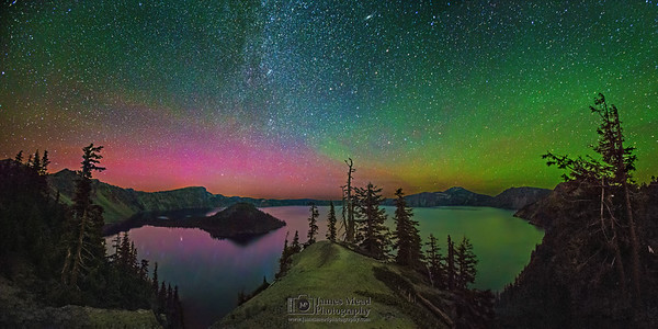 """Aurora's Dreamland,"" The Aurora Borealis, Andromeda Galaxy and Milky Way over Crater Lake, Crater Lake National Park"
