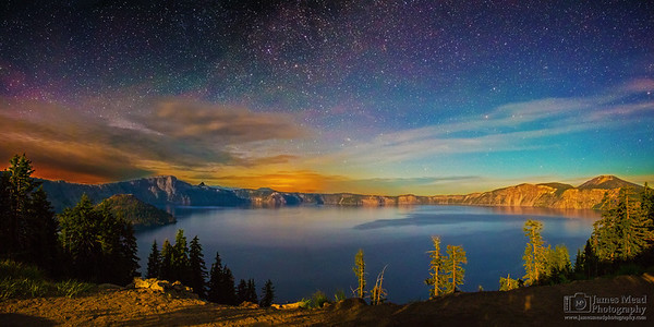 """Moonlight's Kiss,"" Moonlit Auroras over Crater Lake, Crater Lake, Crater Lake National Park, Oregon"