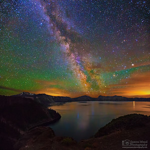 """Glimmering Magic,"" The Milky Way over Cleatwood Cove, Crater Lake, Crater Lake National Park"