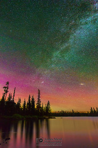 """Night Glow,"" The Aurora Borealis and Milky Way over Big Lake, Willamette National Forest"