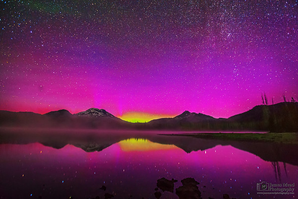 """""""Aurora's Mystery,"""" The Aurora Borealis and Milky Way spiral arm over Sparks Lake, the South Sister and Broken Top, Deschutes National Forest, Oregon"""