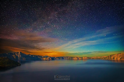 """The Glowing Cauldron,"" Moonlit Milky Way Aurora over Crater Lake, Crater Lake National Park, Oregon"