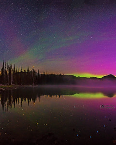 """Colors of the Night,"" The Aurora Borealis and airglow above Sparks Lake, Deschutes National Forest"