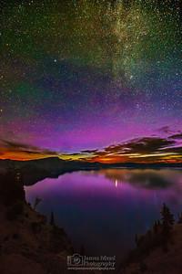 """Purple Dance,"" Crater Lake Aurora Borealis Sunrise, Crater Lake National Park, Oregon"