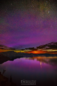 """Last Dance with Aurora,"" Sunrise Auroras over Crater Lake, Crater Lake National Park, Oregon"