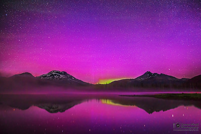 """Night Spark,"" The Aurora Borealis over Sparks Lake, the South Sister and Broken Top, Deschutes National Forest"